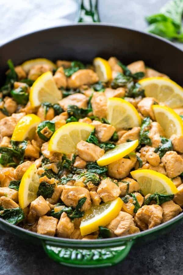 Healthy Lemon Basil Chicken – Fresh, flavorful, and ready in just 20 minutes! Everything cooks in ONE PAN. Serve with rice for an easy weeknight dinner. Recipe at wellplated.com | @wellplated