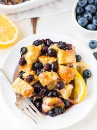 Overnight Lemon Blueberry French Toast. This healthy version of French toast casserole is prepped the night before, so in the morning, all you need to do is bake! Recipe at wellplated.com | @wellplated