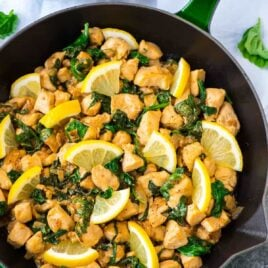 green iron skillet of Lemon Basil Chicken