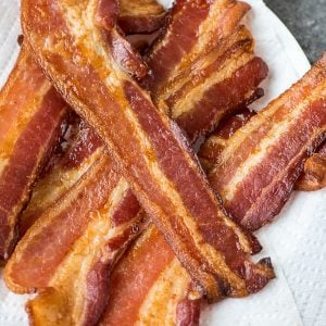 PERFECT Baked Bacon – EASY oven method that results in perfect, crispy bacon every single time. Recipe at wellplated.com | @wellplated