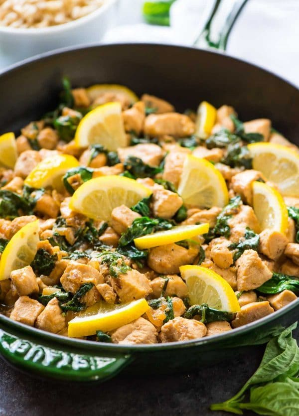 Lemon Basil Chicken – Healthy ONE PAN recipe that's ready in 20 minutes! Serve with rice for a quick and easy weeknight dinner. Recipe at wellplated.com | @wellplated