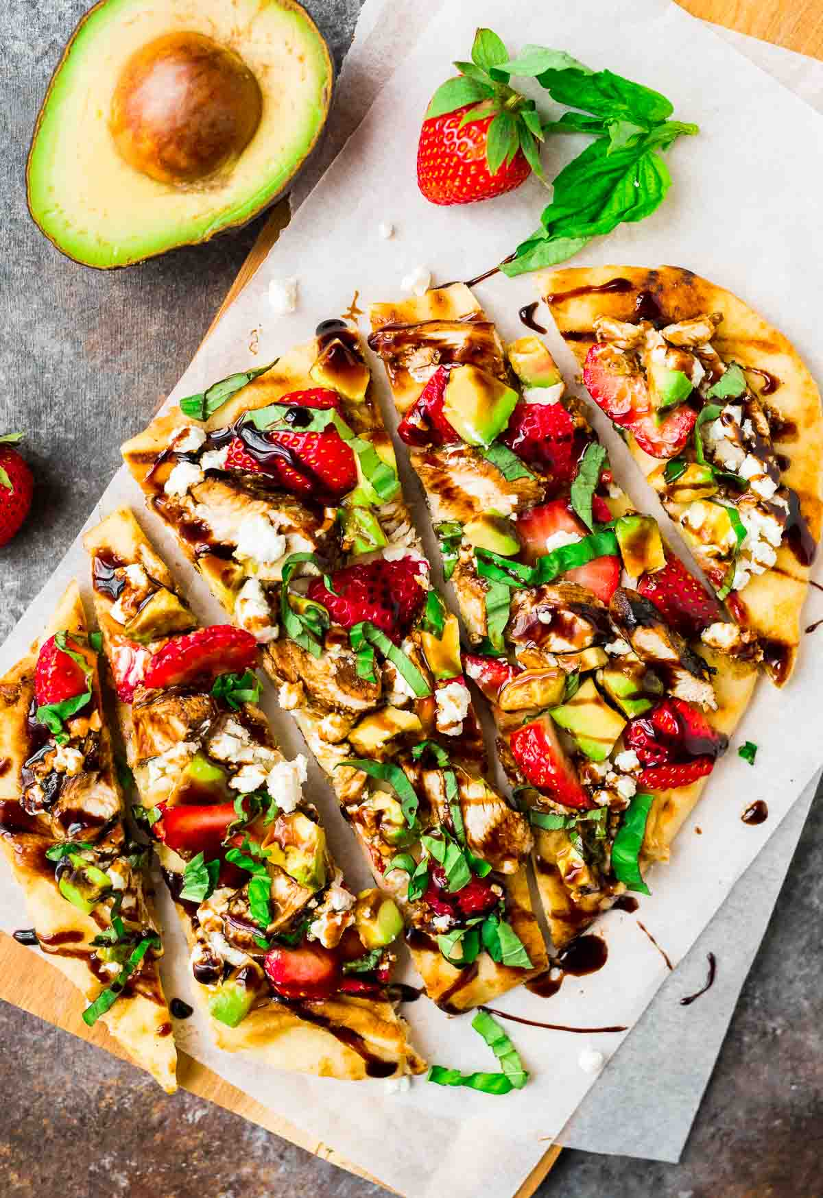 naan pizza with strawberry balsamic chicken and avocado