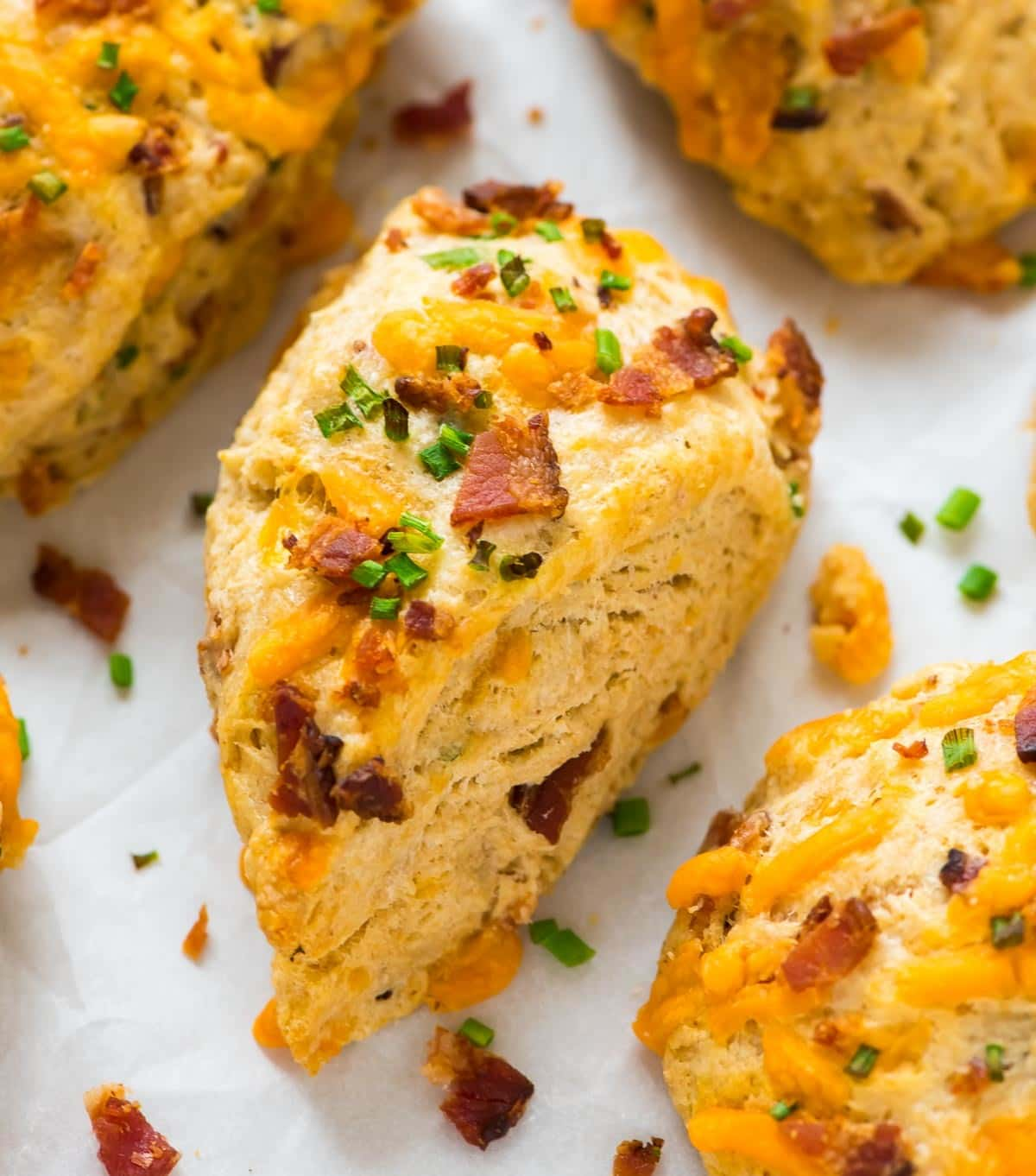 Savory scone idea: Bacon Cheddar and Chive. Easy recipe that yields tender, buttery scones every time. Recipe at wellplated.com   @wellplated