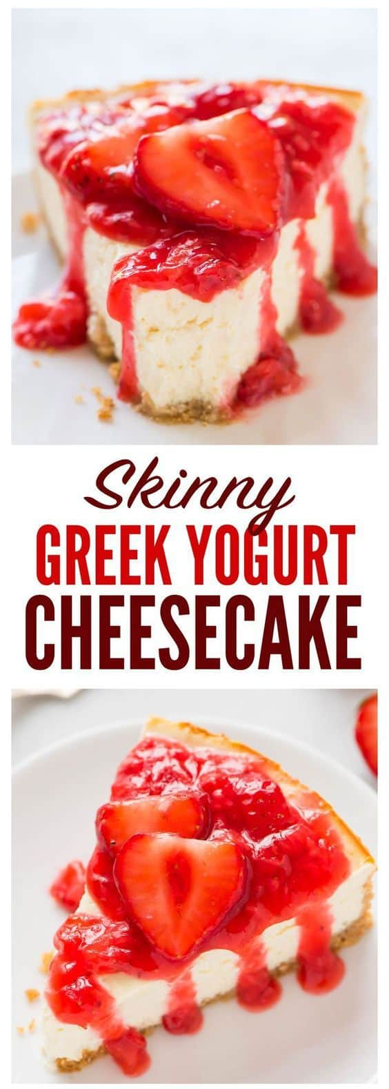 An easy, lightened-up recipe for Greek Yogurt Cheesecake with a fresh strawberry sauce and buttery graham cracker crust. Creamy, fluffy, and the perfect dessert for any occasion! Recipe at wellplated.com | @wellplated #dessert #healthierdessert #cheesecake #recipe