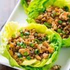 white platter of vegetarian lettuce wraps just like the ones from PF Changs