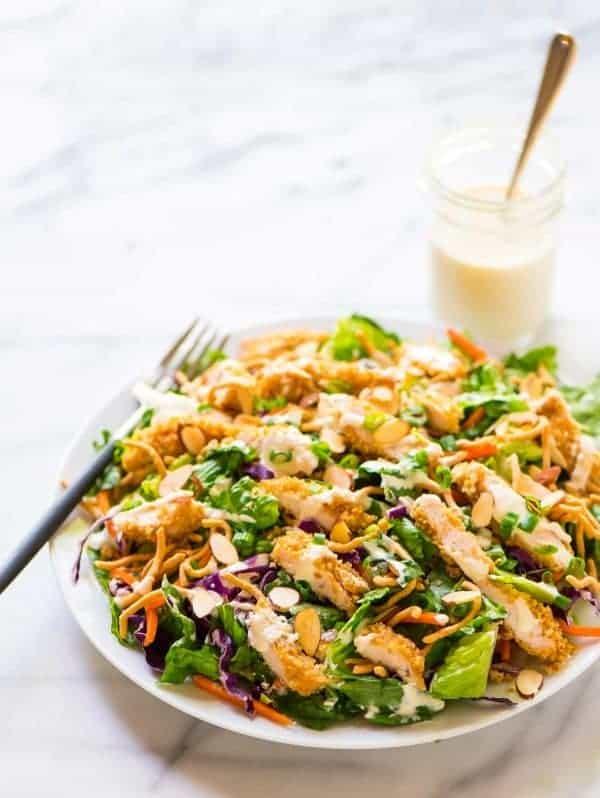 Copycat Applebee's Oriental Chicken Salad with oriental dressing. Recipe at wellplated.com | @wellplated
