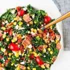BLT Chopped Salad with Feta and Sweet Corn. Everyone's favorite sandwich turned into an easy, delicious salad that's perfect for parties and potlucks! Tastes great at room temperature and can last for days in the refrigerator, so it's great for healthy meal planning too. The ultimate summer salad recipe! Recipe at wellplated.com | @wellplated