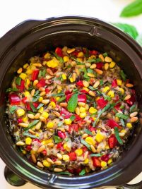 slow cooker wild rice pilaf with sweet corn and fresh basil