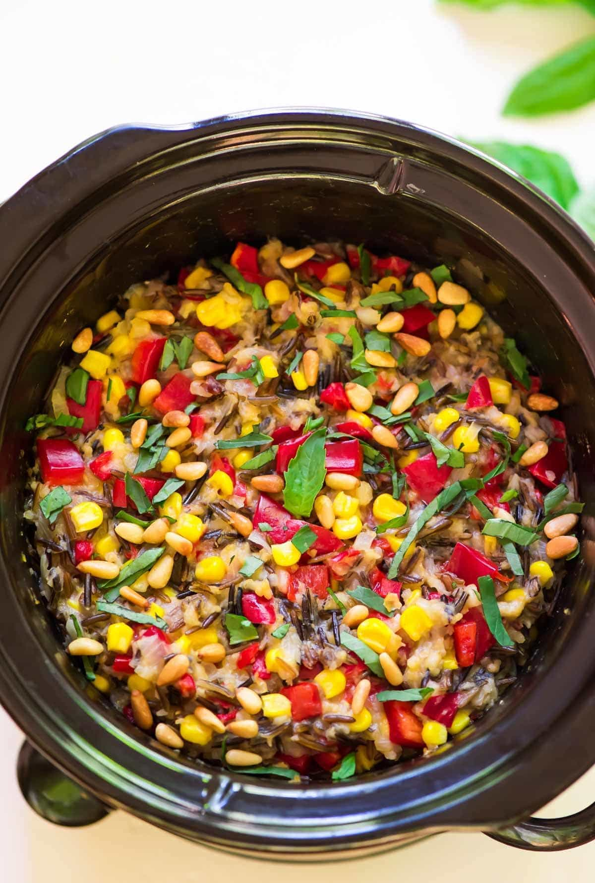 SLOW COOKER WILD RICE PILAF WITH BASIL CORN AND BELL PEPPER