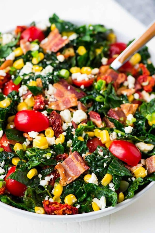 Easy BLT Salad with Feta, Sweet Corn, and Kale. Recipe at wellplated.com | @wellplated