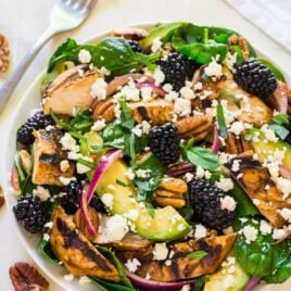 A bowl of balsamic chicken salad with blackberries and avocado