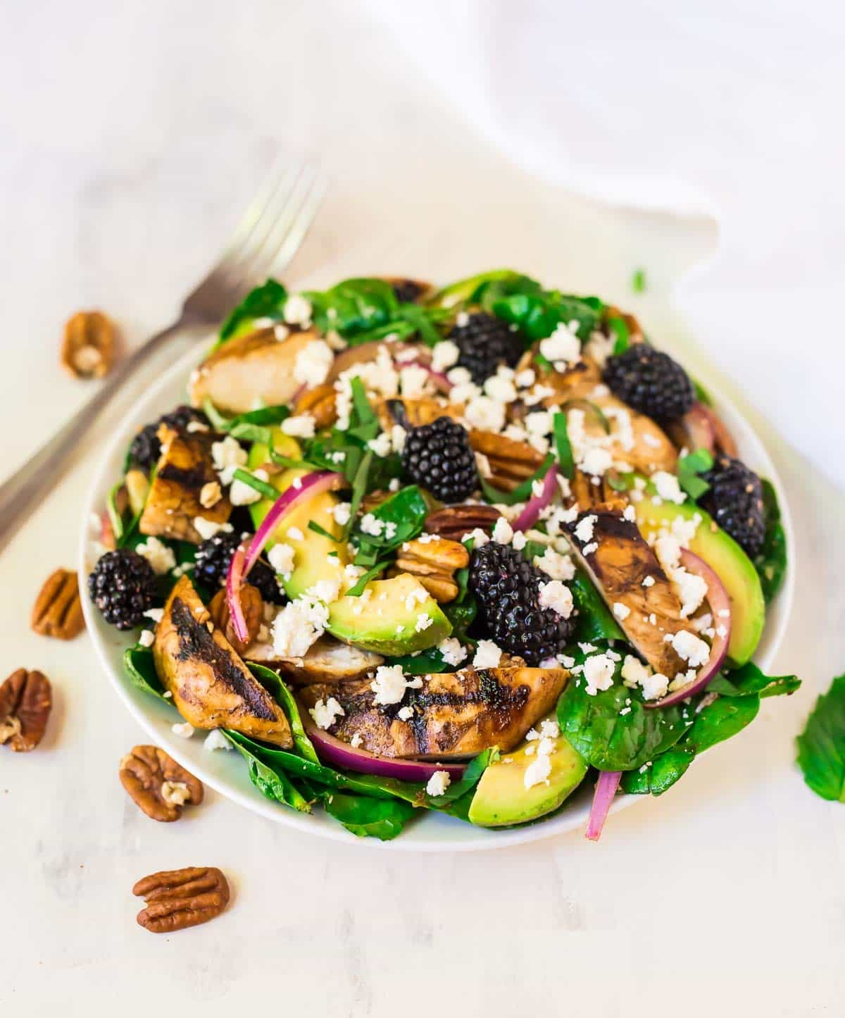 Healthy grilled balsamic chicken salad with blackberries in a bowl surrounded by whole pecans