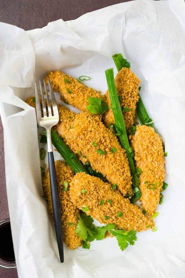 Chinese Crispy Chicken Strips with a sweet and spicy soy garlic marinade. Recipe at wellplated.com   @wellplated