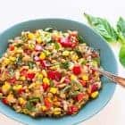 plate of wild rice pilaf with corn and tomatoes made in a slow cooker