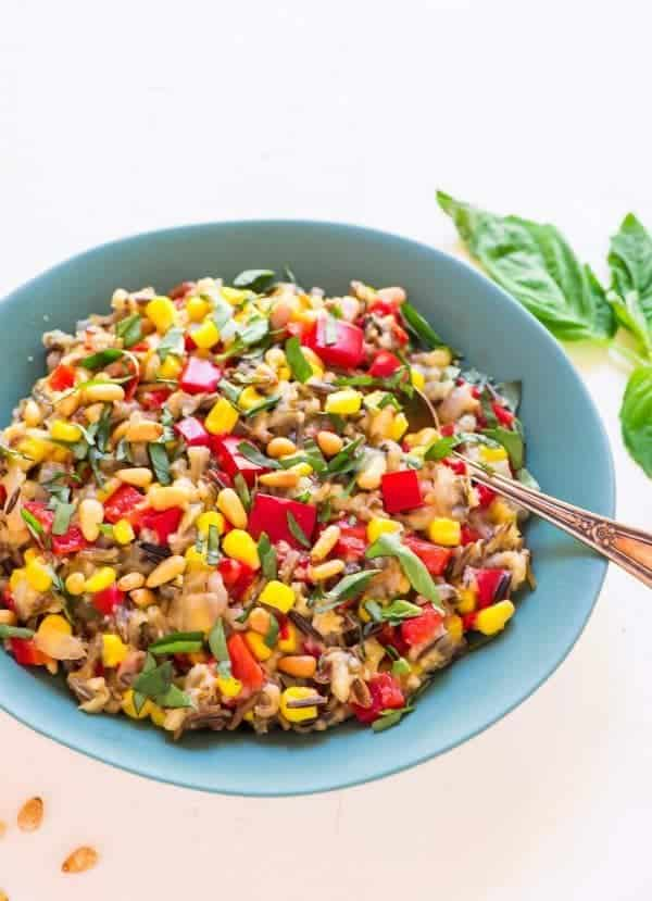 Easy Slow Cooker Wild Brown Rice Pilaf with Corn and Basil. Fresh, healthy, and one of the best summer side dish recipes. The crockpot does the work to make this easy, healthy gluten free dish! Recipe at wellplated.com | @wellplated