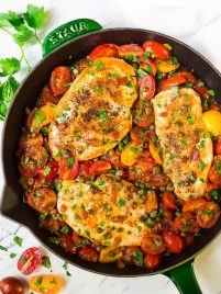 skillet chicken and tomatoes dinner