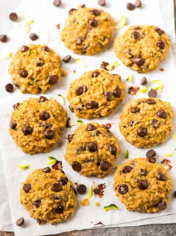 Healthy Zucchini Cookies with Oatmeal and Chocolate Chips. Soft, buttery, and perfect for using up extra summer zucchini. Recipe at wellplated.com | @wellplated