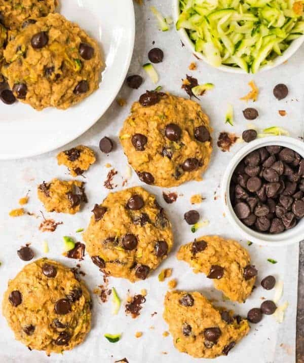 BEST Chocolate Chip Oatmeal Zucchini Cookies. Healthy, super soft, buttery, and naturally sweetened! Recipe includes notes to make gluten free. Try adding raisins, walnuts, or any of your favorite mix-ins! Recipe at wellplated.com | @wellplated
