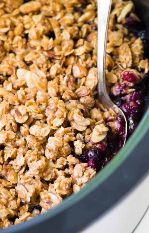 Triple Berry Crisp Recipe Easy Slow Cooker Fruit Crisp