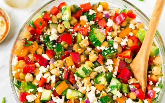 Healthy Mediterranean Chickpea Salad with feta, cucumber, bell peppers, and a simple Greek dressing. Fast, easy recipe that's perfect for a summer barbecue side dish or a main dish salad for a light dinner. {vegetarian, gluten free, vegan friendly} Recipe at wellplated.com   @wellplated