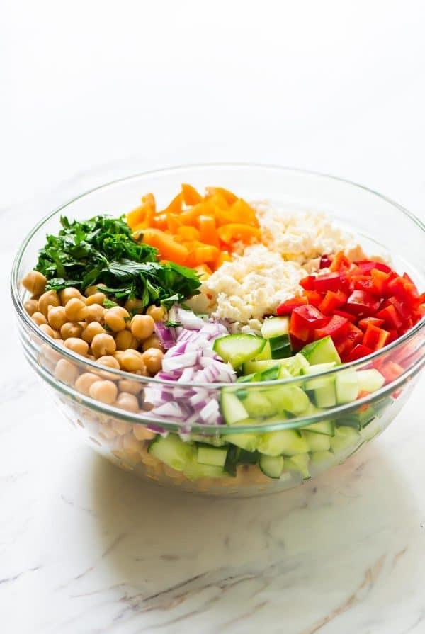 Chickpea salad ingredients in a bowl