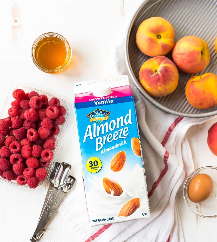 ingredients to make fresh or frozen peach upside down cake