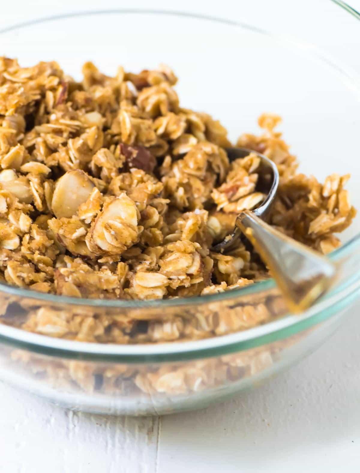 bowl of crunchy oat topping for a fruit crisp
