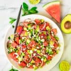 Simple and refreshing Watermelon Feta Salad with Avocado, Mint, Edamame, and Lime Dressing. Easy, healthy, and filling! One of the best summer recipes. Recipe at wellplated.com | @wellplated