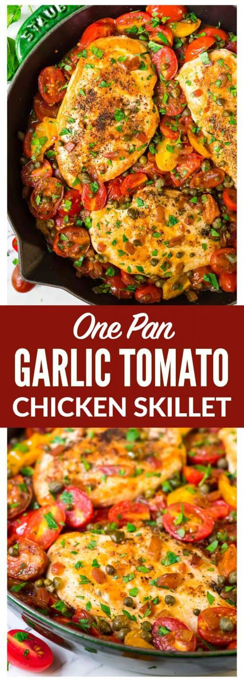 photo collage of skillet chicken and tomatoes