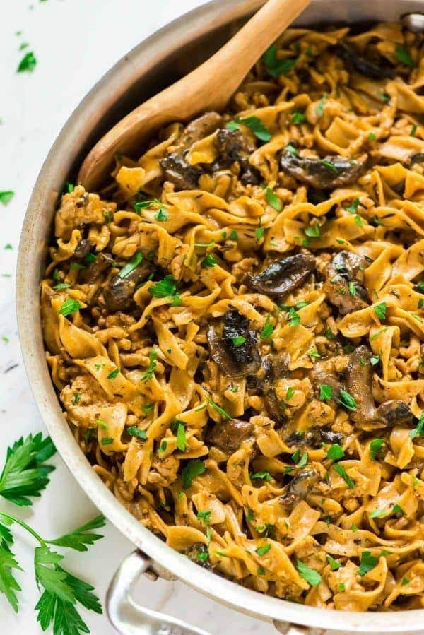 Quick, easy and delicious One Pot Creamy Chicken Stroganoff!! A healthy, homemade version of everyone's favorite hamburger stroganoff that's ready in 30 minutes! Perfect for a weeknight meal and will have everyone asking for seconds. NO canned soup! Recipe at wellplated.com | @wellplated