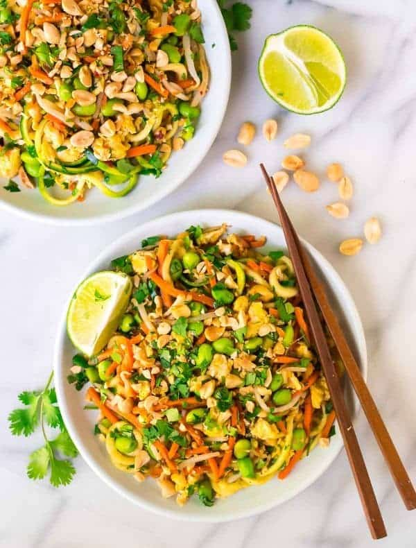 Easy Vegetarian Pad Thai with Zoodles. Fast, healthy, low carb, and gluten free! The peanut sauce is delicious, the recipe cooks in one pot, and is ready in just 30 minutes! Recipe at wellplated.com | @wellplated
