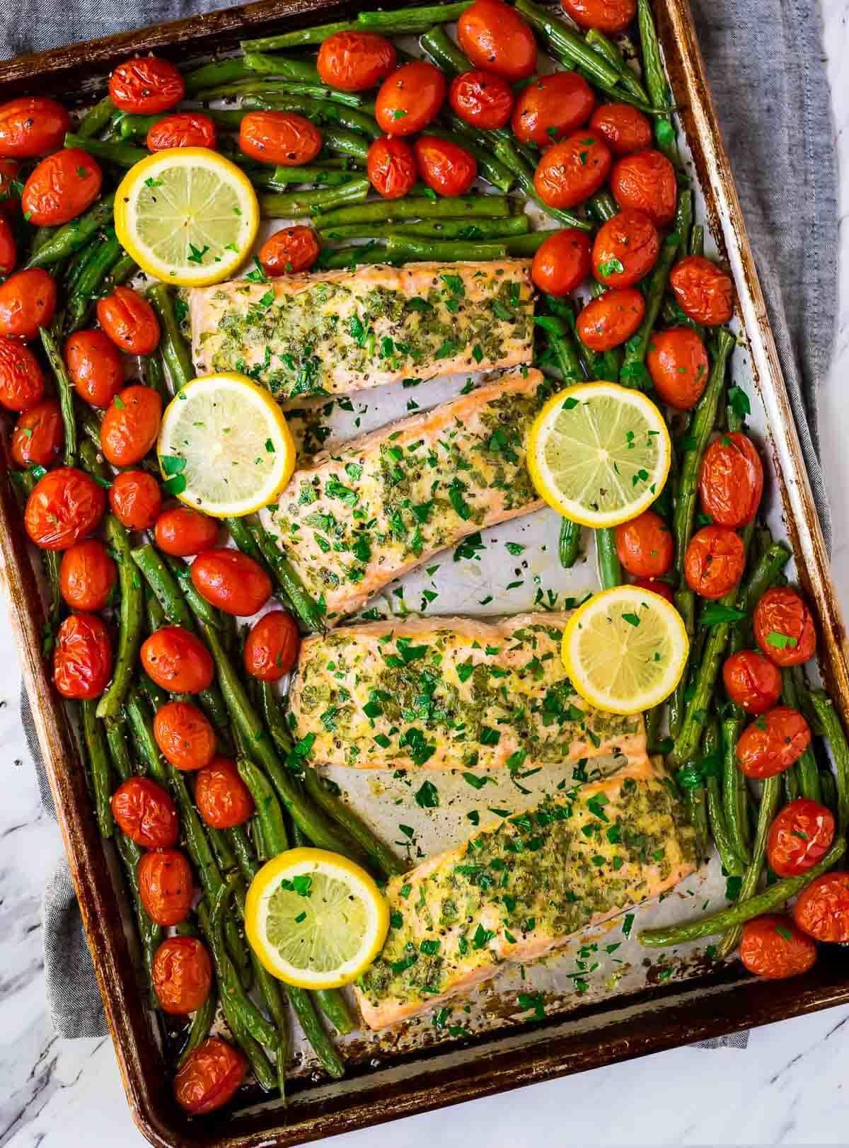 Sheet Pan Garlic Salmon with Lemon Butter and Veggies.