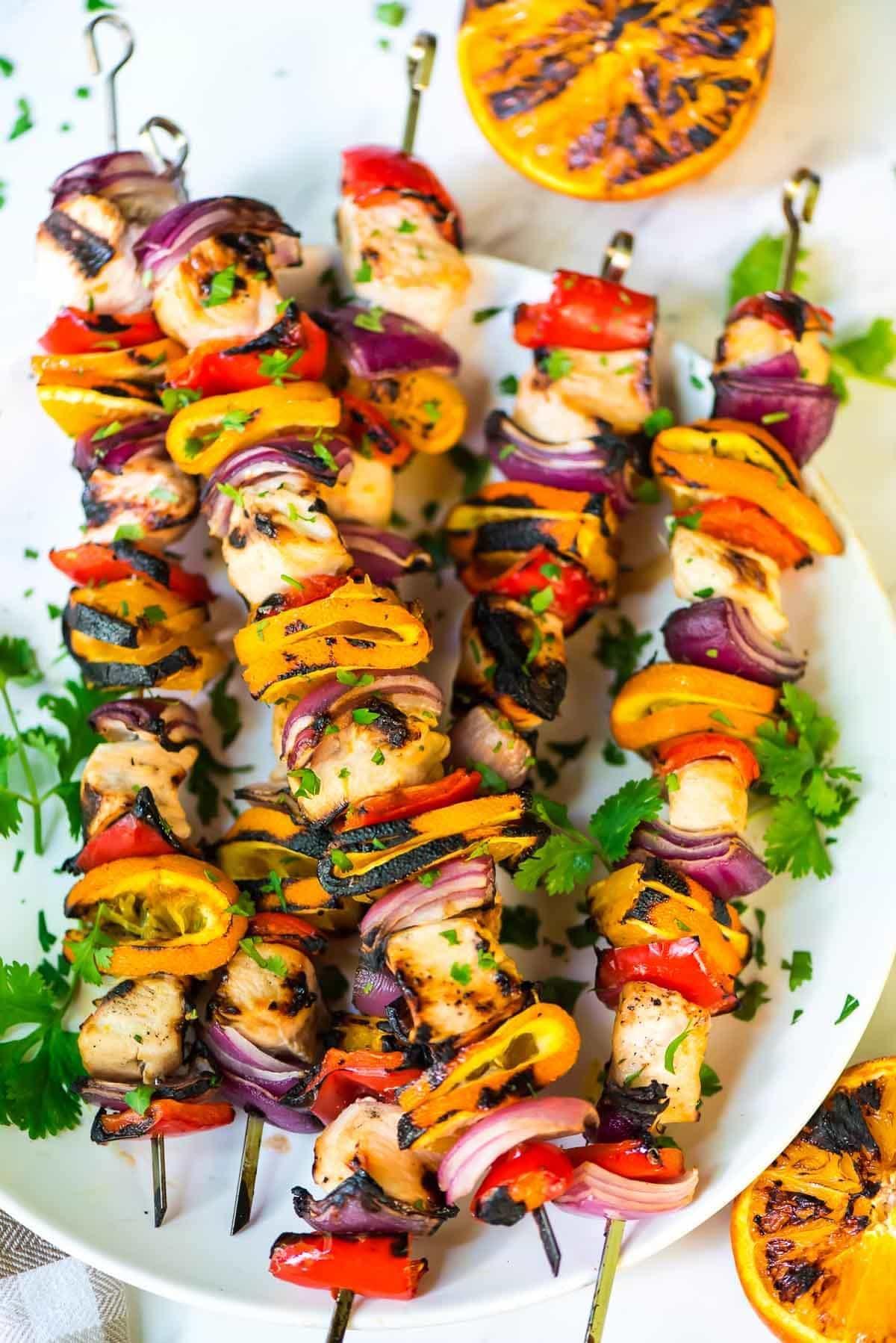 Orange chicken kabobs with vegetables