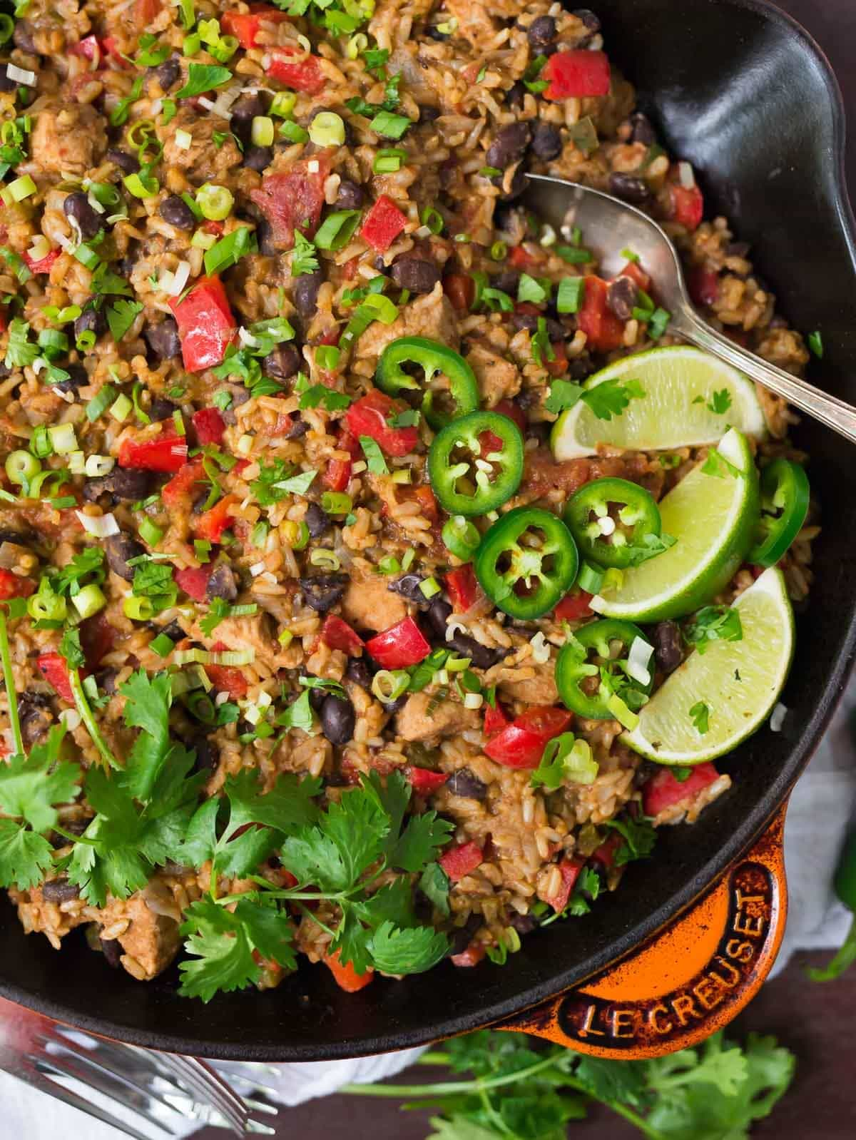 One Pot Mexican Chicken and Rice with beans and cheese