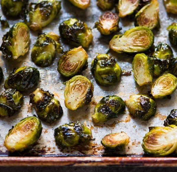 Roasted Brussels sprouts are a great side dish to pair with this easy recipe for Chicken Stroganoff Recipe at wellplated.com | @wellplated