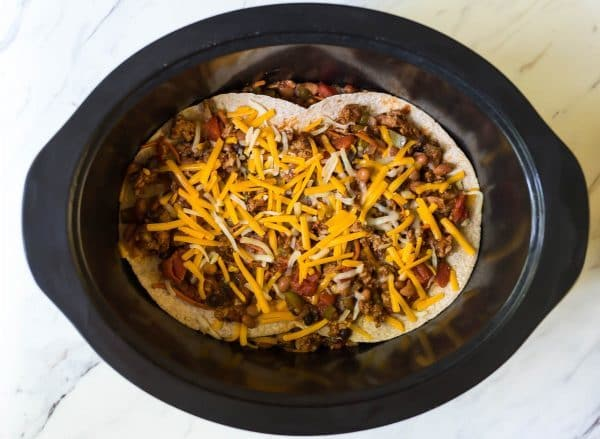 Layered Taco Bake, cooked in a crockpot