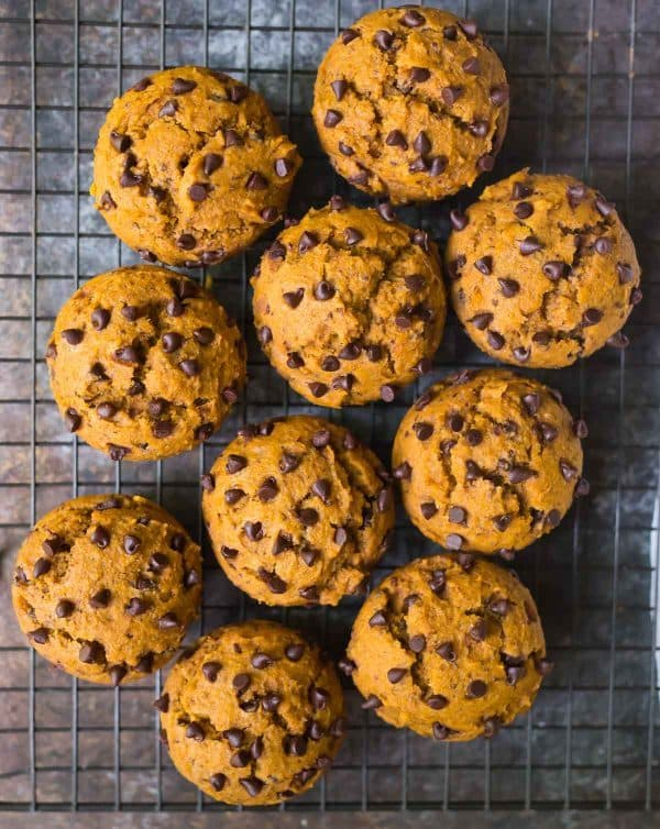 Soft and moist vegan pumpkin chocolate chip muffins. Our favorite healthy muffin recipe!