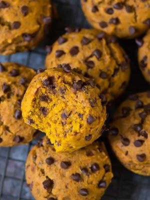 Ultra soft and flavorful Vegan Pumpkin Muffins with Chocolate Chips. Easy, healthy, and filled with all the best flavors of fall! Recipe at wellplated.com