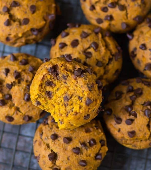 Ultra soft and flavorful Vegan Pumpkin Muffins with Chocolate Chips. Easy, healthy, and filled with all the best flavors of fall!