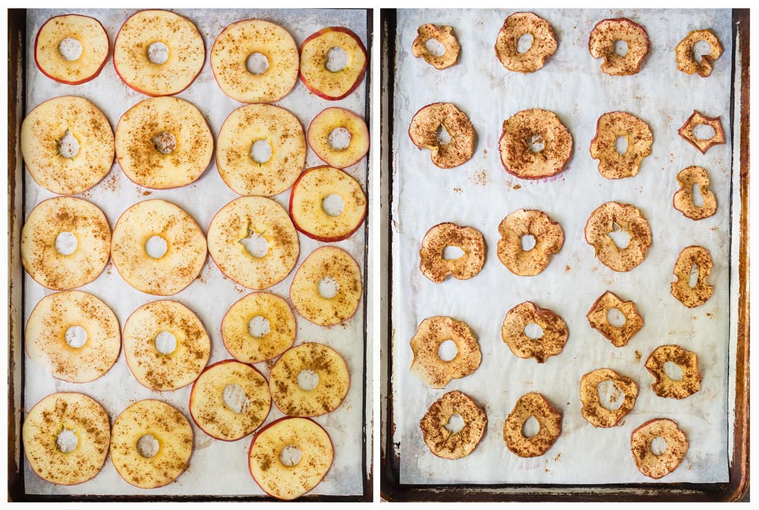 Homemade baked apple chips shown before and after baking on parchment-lined baking sheets