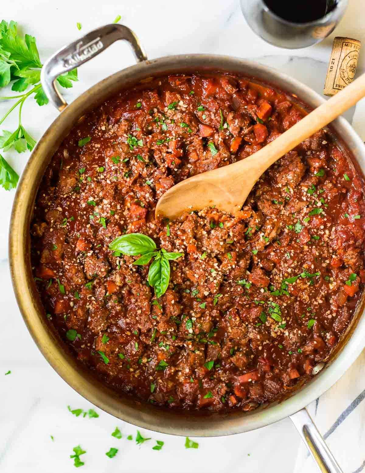 saute pan filled with turkey bolognese sauce