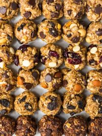 sheet pan full of no bake energy balls