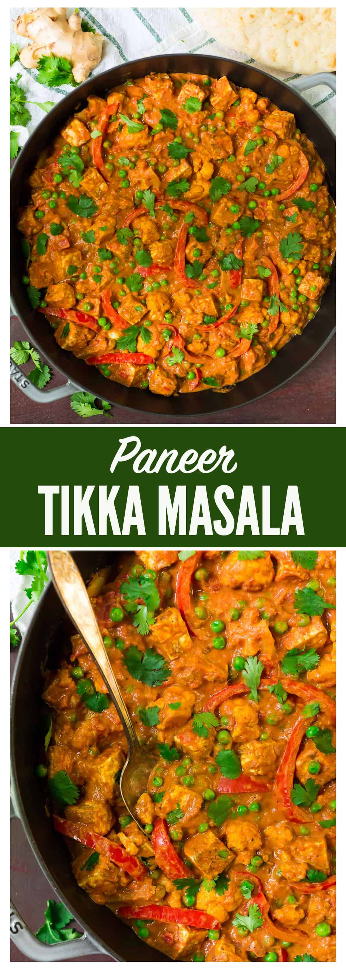 An easy, healthy recipe for the popular Indian restaurant dish Paneer Tikka Masala (spiced Indian cottage cheese with masala gravy). A rich, filling vegetarian dish that anyone can make at home! #indian #masala #healthy #recipe #paneer
