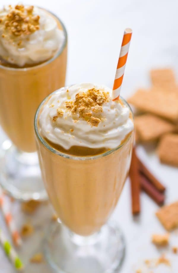 Fall in a glass! Healthy Pumpkin Milkshakes. A great way to use up leftover pumpkin. Ready in 5 minutes! Recipe at wellplated.com