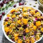 Maple Butternut Squash Quinoa Salad with Cranberries. A healthy, gluten free recipe filled with fall flavors. Easy, filling and perfect for make ahead lunches and dinners! Recipe at wellplated.com | @wellplated