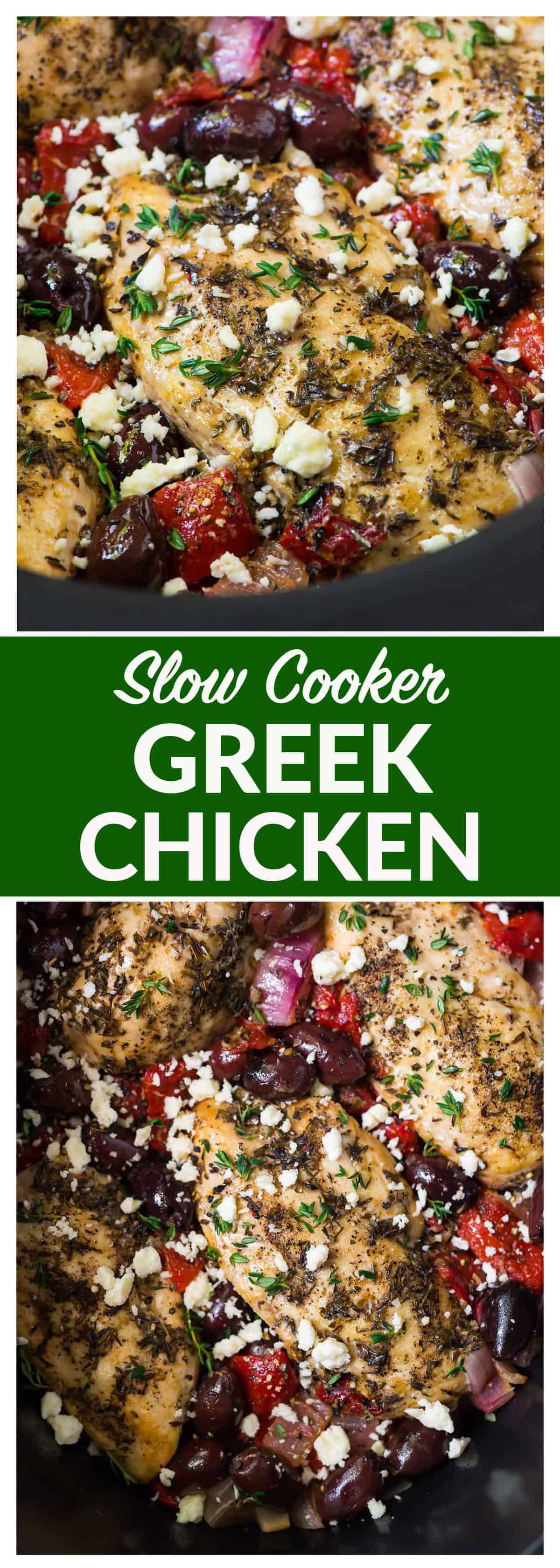 Slow Cooker Greek Chicken – moist, juicy chicken with a bright Mediterranean flavors, roasted red peppers, and feta. Easy, healthy, and absolutely delicious crockpot recipe! Recipe at wellplated.com #crockpot #slowcooker #chicken #healthyrecipe