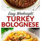 collage image of turkey bolognese sauce
