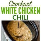 Cheesy Crockpot White Chicken Chili. Not too spicy with TONS of flavor. Healthy, easy chili recipe, and your slow cooker does all the work!
