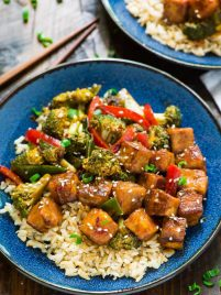 General Tso Tofu. A healthy, DELICIOUS version of everyone's favorite takeout dish. Easy and made with everyday ingredients. Filled with fresh veggies and protein, in the most flavorful General Tso's sauce. ONE PAN, vegan, and gluten free!