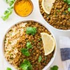 Easy, CREAMY Instant Pot Lentil Curry. Amazing flavors, not too spicy, and it's hands free, vegan, and healthy! Made with green or brown lentils, Indian spices, and coconut milk.